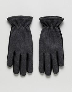 Перчатки из кожи и шерсти Jack & Jones - Черный