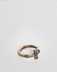 Кольцо с крестиком Icon Brand - Золотой