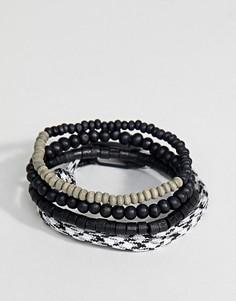 4 черных браслета (из бусин/веревочный) Icon Brand эксклюзивно для ASOS - Черный