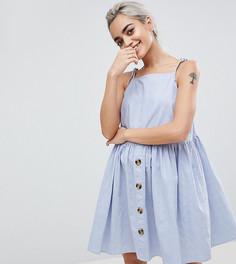 Свободное платье мини в стиле casual с пуговицами ASOS DESIGN Petite - Синий