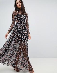 Платье макси с цветочной вышивкой ASOS EDITION - Мульти