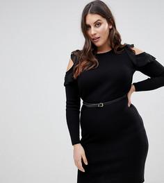Трикотажное платье миди с оборкой Lipsy Curve - Черный