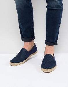 Темно-синие сетчатые кеды-слипоны Burton Menswear - Темно-синий