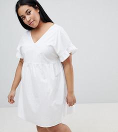 Хлопковое свободное платье мини с V-образным вырезом на груди и спине ASOS DESIGN Curve - Белый