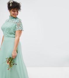 Платье макси 2 в 1 с кружевом Chi Chi London Plus - Зеленый