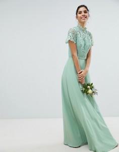 Кружевное платье макси 2 в 1 Chi Chi London - Зеленый