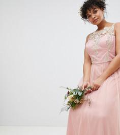 Кружевное платье макси без рукавов Chi Chi London Plus - Розовый