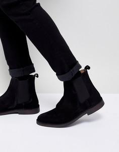 Черные замшевые ботинки челси Selected Homme - Черный