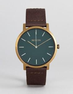 Часы с коричневым кожаным ремешком Nixon A1058 Porter - Коричневый