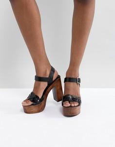 Кожаные плетеные босоножки на каблуке ASOS DESIGN Troop - Черный