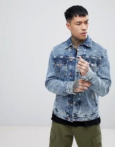 Джинсовая куртка с эффектом кислотной стирки Wrangler - Синий