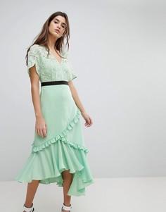 Платье миди с кружевным лифом Three Floor - Зеленый