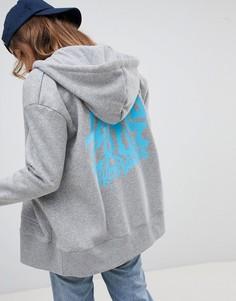 Худи на молнии с логотипом на спине Santa Cruz - Серый
