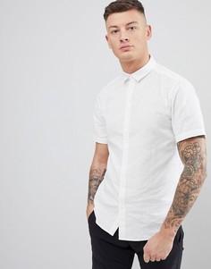 Льняная рубашка с короткими рукавами Only & Sons - Белый