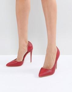 Красные туфли-лодочки с отделкой под кожу крокодила Lost Ink - Красный