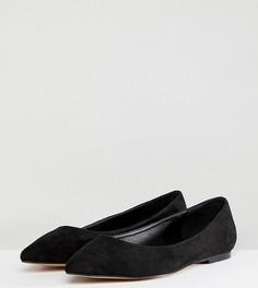 Балетки для широкой стопы с острым носком ASOS DESIGN Latch - Черный