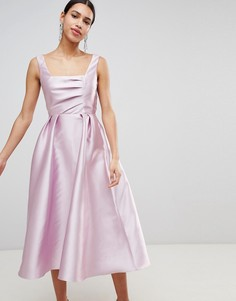 Структурированное платье миди для выпускного с квадратным вырезом ASOS DESIGN - Розовый