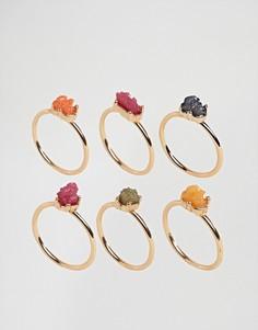 Набор колец с разноцветными камнями DesignB London - Мульти