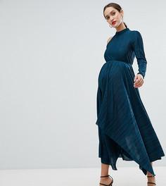 Асимметричное плиссированное платье с одним рукавом ASOS DESIGN Maternity - Зеленый
