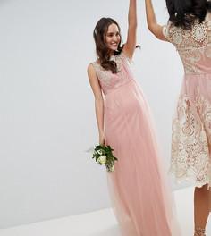 Кружевное платье макси без рукавов Chi Chi London Maternity - Розовый