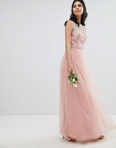 Кружевное платье макси без рукавов Chi Chi London - Розовый