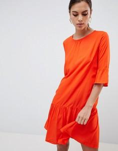 Платье с рукавами клеш и асимметричным краем Y.A.S - Оранжевый