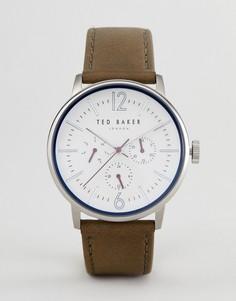 Часы с кожаным ремешком оливкового цвета и хронографом Ted Baker TE15066004 Jason - 42 мм - Коричневый