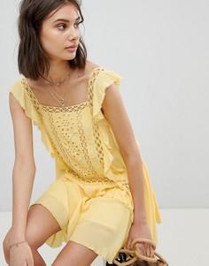 Платье мини Free People - Желтый