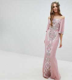 Платье макси с открытыми плечами, рукавами клеш и отделкой Maya Tall Bridesmaid - Розовый