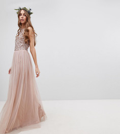 Платье макси без рукавов с пайетками на топе и вырезом на спине Maya Tall Bridesmaid - Коричневый