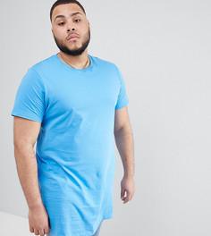 Голубая супердлинная футболка ASOS PLUS - Синий