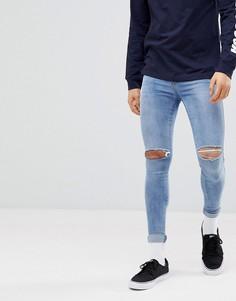 Светлые джинсы скинни с рваной отделкой Dr Denim Dixy - Синий