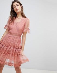 Ярусное платье мини Three Floor - Оранжевый