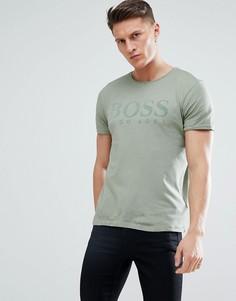 Футболка из окрашенной ткани цвета хаки BOSS - Зеленый