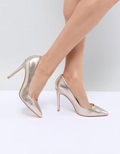 Золотистые туфли на каблуке с острым носком Faith Chloe - Золотой