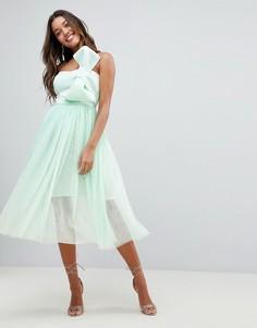 Премиум-платье миди с бантом и юбкой из тюля ASOS DESIGN - Зеленый