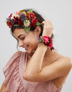 Браслет и повязка на голову с цветами ASOS - Мульти