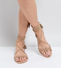 Плетеные сандалии с завязками ASOS FAYLA - Бежевый