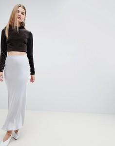 Атласная юбка макси ASOS WHITE - Серый