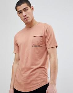 Футболка с карманом Only & Sons - Оранжевый