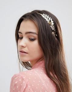 Повязка на голову с цветочной отделкой ASOS DESIGN - Золотой