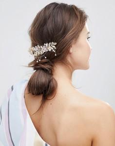 Заколка для волос с пастельными цветами и листиками ASOS DESIGN - Золотой