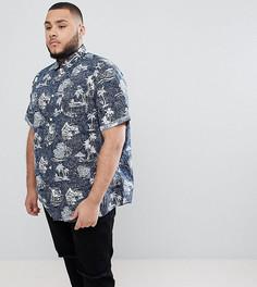 Рубашка с короткими рукавами и гавайским принтом Jack & Jones Originals PLUS - Темно-синий