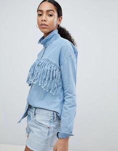 Джинсовая рубашка с бахромой Noisy May - Синий