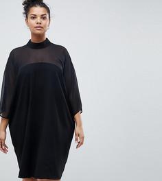 Платье с полупрозрачными вставками ASOS DESIGN Curve - Черный