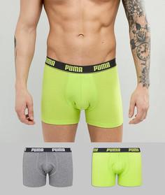 Набор из 2 зеленых эластичных боксеров Puma 671001001007 - Зеленый