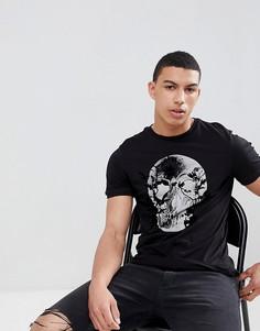 Черная футболка с бархатистым принтом черепа River Island - Черный