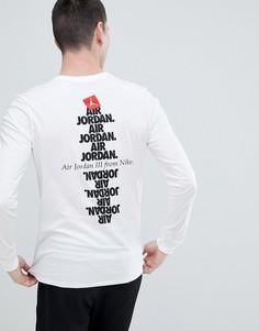 Белый лонгслив с принтом на спине Nike Jordan AJ3 943938-100 - Белый