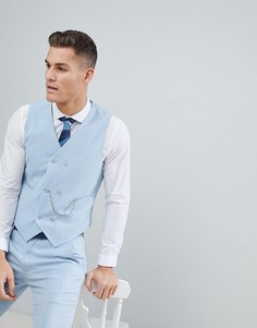 Голубой приталенный жилет с принтом на подкладке ASOS Wedding - Синий