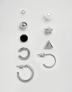 Набор сережек (со стразами / кольца) New Look - Серебряный